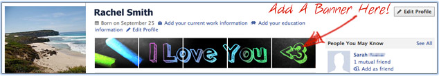 Add a Hearts  Facebook Banner to your Facebook Profile